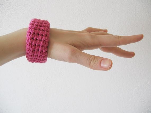 chunky crochet bracelet / bangle / cuff - hot pink