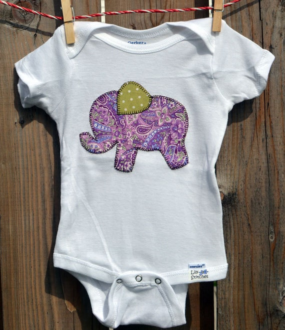 Girl's Elephant Onesie: Elephant Applique Onesie Customized for Boys or Girls Create Your Own Onesie with Over 200 Fabric Options