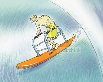 Surfing birthday card with Senior surfer surfing with walker, 5x7