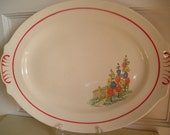 Vintage Serving Platter Paden City Pottery Floral Red Edging