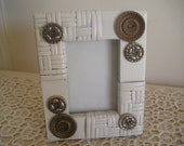Vintage Metal Button Wicker Frame