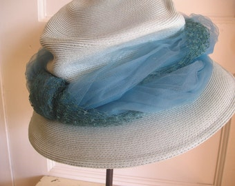 1960's Gene Doris Ladies Hat Brim Hat Turquoise Blue TREASURY ITEM