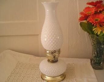 Milk Glass Hob Nail Hurricane Lamp Desk Lamp Accent Lamp TREASURY ITEM