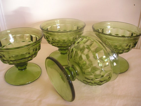 Vintage Dessert Cups Pedestal Glass Green Set of Four