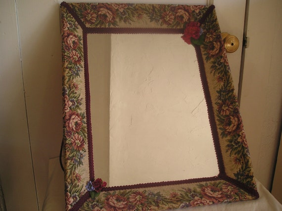 Cottage Chic Mirror With Fabric Covered Frame By