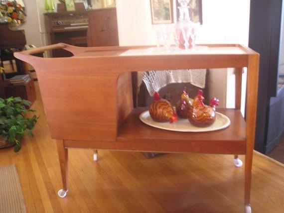 RESERVED for Sandra Vintage Wood Bar Cart Serving Cart  LOCAL Pickup ONLY