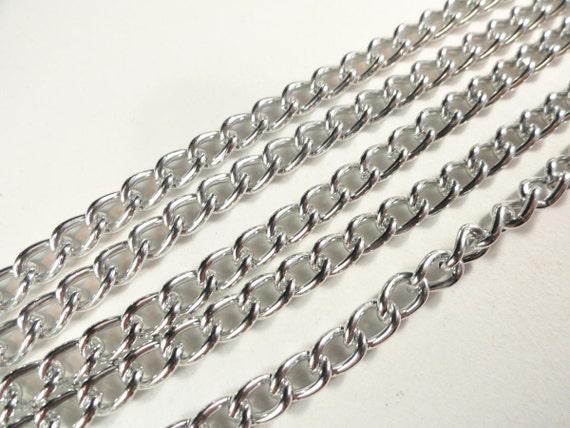 """Vintage Silver Curb Chain, 60"""""""
