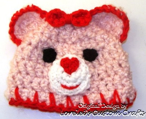 Teddy care bear hat in pink and red: 0-3month