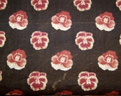unusual early antique printed pansy cotton fabric free US shipping