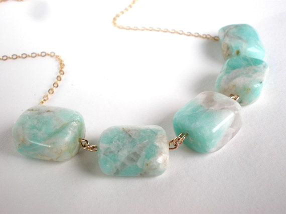 Chunky Mint Necklace Aqua Necklace