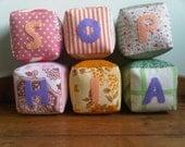 Reserved for Kat - Fabric baby Blocks - Sophia