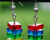 Stack Earrings made with genuine LEGO(R) bricks - Primary Colors