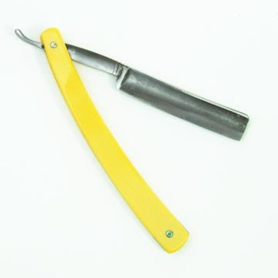1900s Vintage Antique Straight Razor Yellow Handle
