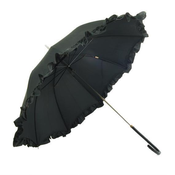 Black Victorian Umbrella Ruffles Lolita