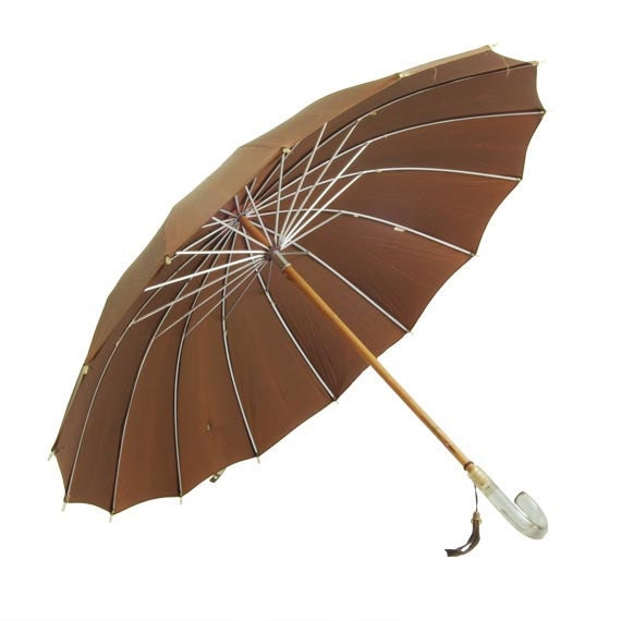 RESERVED FOR BB : Coffee Brown Umbrella Lucite Handle