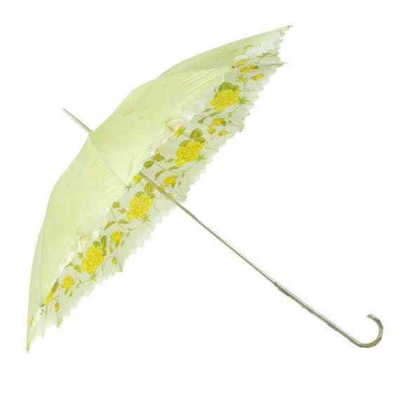 Dainty Vintage Umbrella Yellow Roses Double Shelled