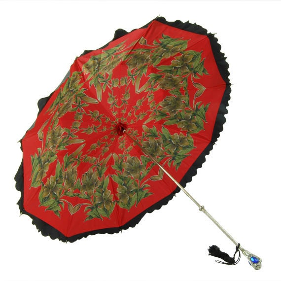 Ornate Red Umbrella Silver Gem Handle Double Shelled