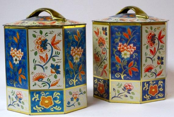 Octagonal tin set with handled lids - floral vintage