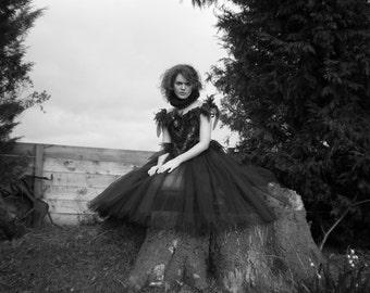 Gothic Romantic Tutu. Fantasy Dark Fairy Ballerina Costume. Hand Beading Detail
