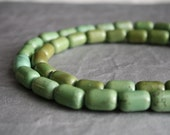 Bead Magnesite -Moss Green- 14x9mm-15x10mm Tube- 15 inch strand- 27 beads