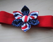 Red White & Blue 4th of July Hand Sewn Fabric Flower Hair Headband for Infants, Toddlers or Little Girls