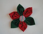 Christmas Holly Red & Green 3 1/2 inch Fabric Flower Hair Clip/Bow for Girls or Women