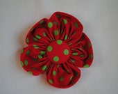Christmas Red & Lime Green Polka Dot 4 inch Fabric Flower Hair Bow/Clip for Girls or Women
