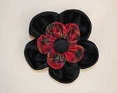 Custom order for H.P. Christmas double layered 4 inch fabric flower black Baroque satin with metalic plaid center hair bow or clip for girls