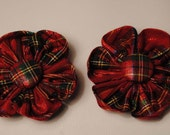 Custom order for Valerie - 2 Mini Christmas Red & Green Plaid Metallic 2 1/2  inch Fabric Flower Hair Clip