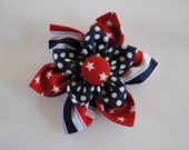 Red White & Blue 4th of July Hand Sewn Fabric Emily Hair Bow for Toddlers or Little Girls