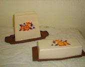 Vintage Napkin Holder And Butter Dish -  Brown Orange - Sterilite - Farmhouse Kitchen - Flowers - Cottage Decor -  Yellow