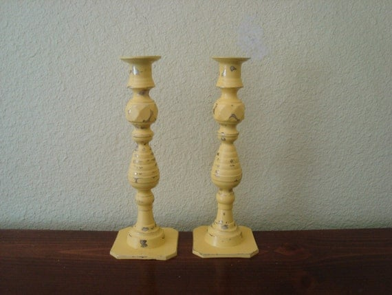 Pair  Shabby Cottage Chic Yellow Candlesticks  Distressed