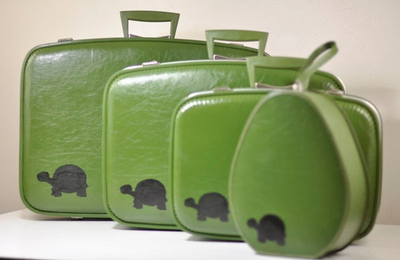 VINTAGE Green SUITCASE Upcycled Luggage Set with Hand Painted Tortoise Turtle