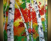 ORIGINAL Birch tree Modern Landscape Fine Art Impasto heavy texture Palette knife oil Red Painting by IraSher