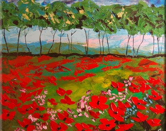 ORIGINAL Modern Landscape Fine Art Impasto heavy texture Palette knife oil Flowers Poppies Field Painting by IraSher