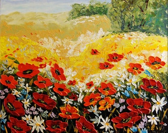 ORIGINAL Modern Landscape Fine Art Impasto heavy texture Palette knife oil Flowers Poppies Tuscany Field Painting by IraSher
