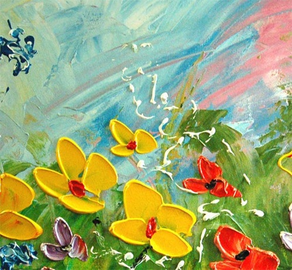 Reserved for Heather -- third payment --  Modern Large Fine Art Impasto texture Palette knife oil Flowers 30 x 20 Painting by IraSher