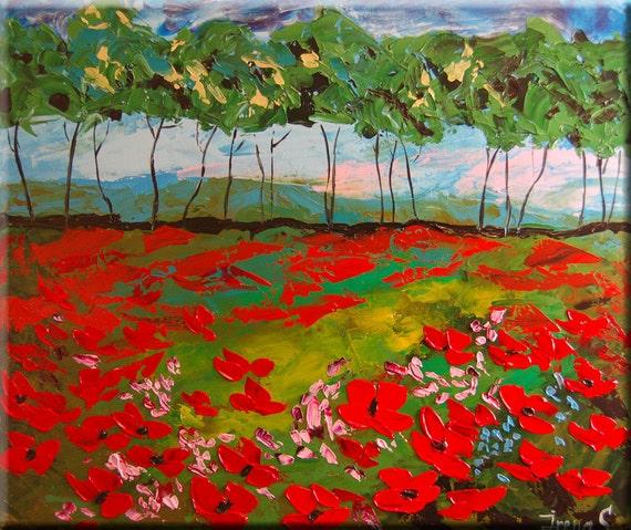 ORIGINAL Modern Landscape Fine Art Impasto heavy texture Palette knife oil Flowers Poppies Field Painting by IraSher