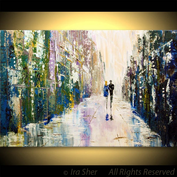 ORIGINAL Modern Large Fine art Couple Love -- IMPASTO TEXTURE -- Palette knife Landscape oil Cityscape Painting by IraSher