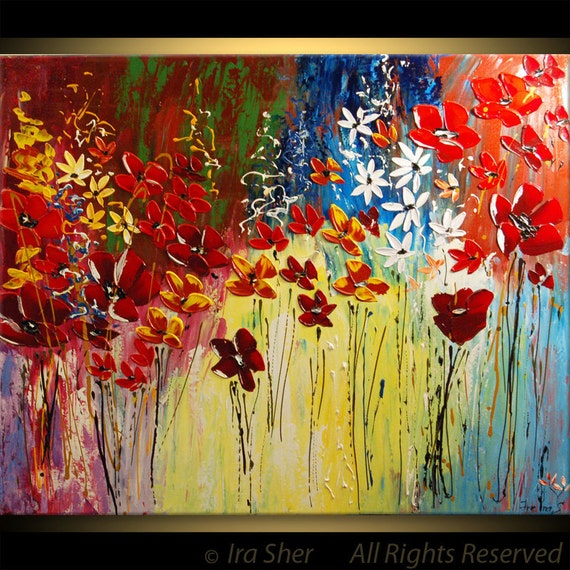 Reserve for Justin only --- Mother's Day ORIGINAL Modern Large Art Impasto Red Poppies texture Landscape knife Flowers Painting by IraSher