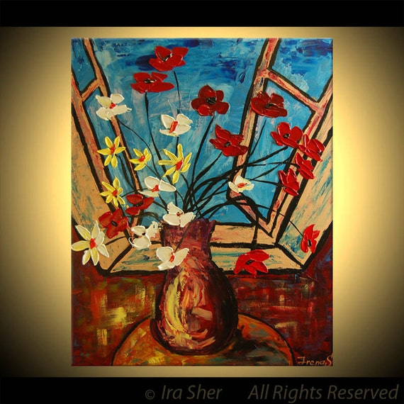 ORIGINAL Flowers Painting Fine Art Impasto heavy texture Palette knife oil Great Colors Morning Flowers by IraSher