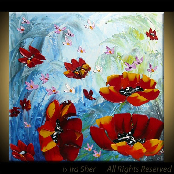 ORIGINAL Modern Fine Art Impasto texture Palette knife oil Flowers abstract  on Blue red 24x24 Painting by IraSher