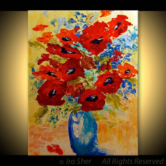 ORIGINAL Modern Fine Art Red Poppies Flowers Impasto texture Palette knife impressive large Painting by IraSher