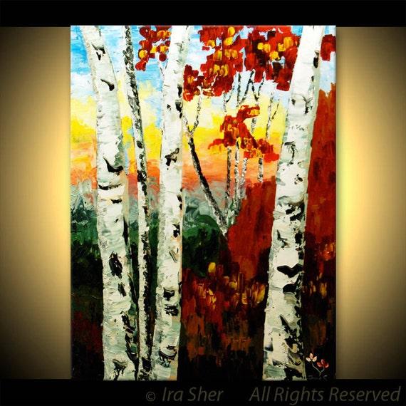 Mother Day ORIGINAL Birch tree Modern Landscape Fine Art Impasto heavy texture Palette knife oil Red Painting by IraSher