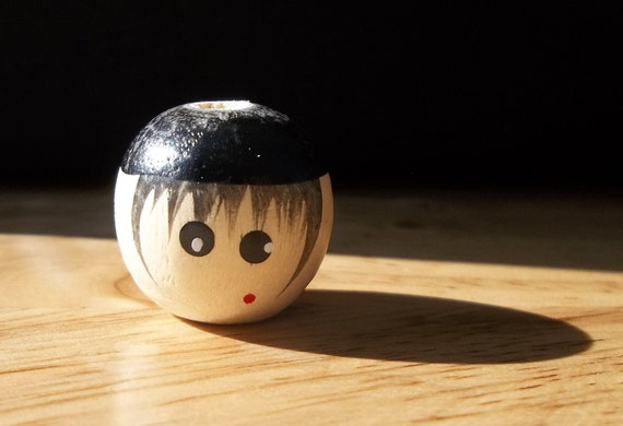 20 Vintage Wooden Boy Doll Head Beads