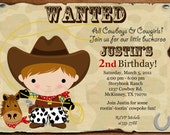 Custom Personalized Cowboy or Cowgirl Wanted Western Buckaroo Birthday Party Invitation With or Without Photo - Digital Print