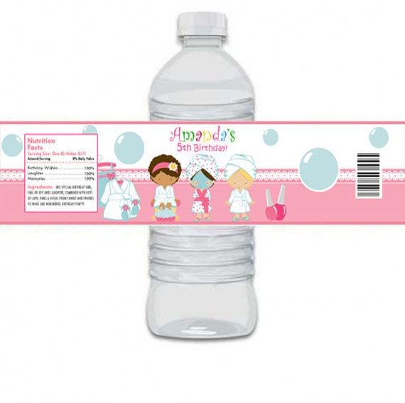 Custom Personalized Spa Mani Pedi Birthday Party Water Bottle