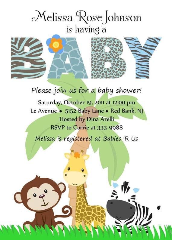 Personalized  Animal Safari Jungle Baby Shower Invitation  - Digital Print