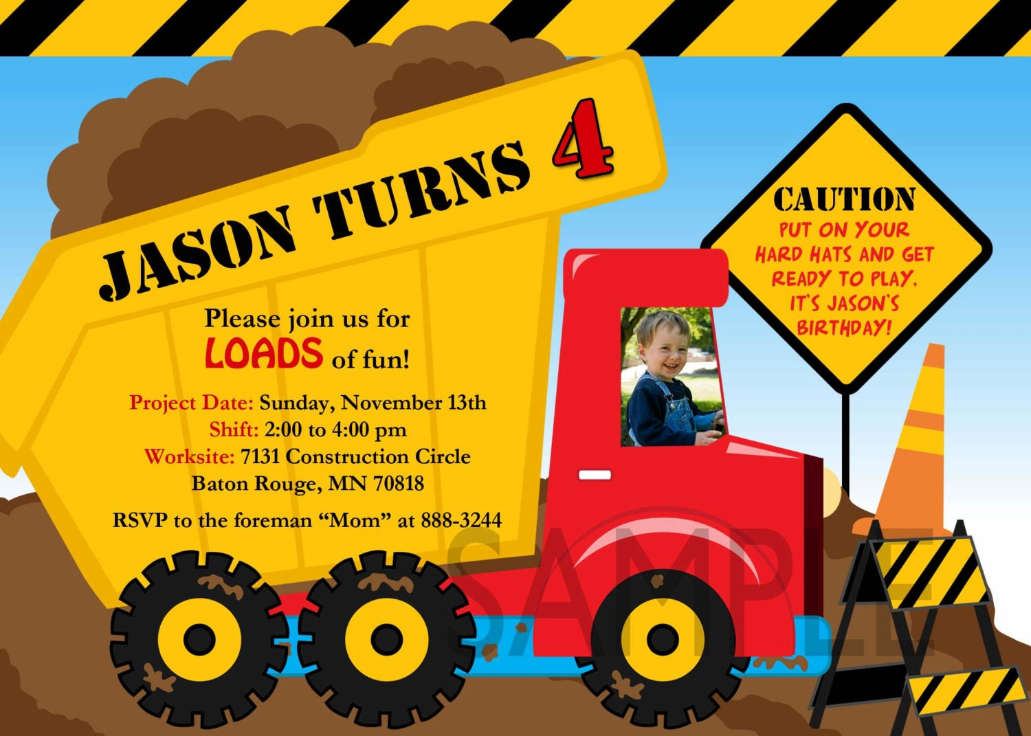 Construction Theme Party Invitations with perfect invitation example