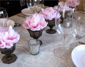 Centerpiece 5 Piece Set with Pink Peonies & Vintage Smoked Glass